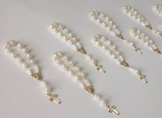 "25 Mini rosaries, decade, ministerios, gift favors 3 1/2"" baptism favors christening favors pearl-color on Etsy, $19.99"