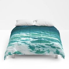 Turquoise ocean surf Comforter Bedding comforter sea bedding tropical coastal full queen king comforter blue white wave paradise Hawaii