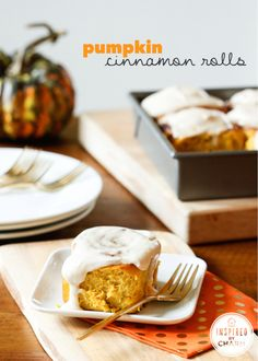 I'm in love -->>> Pumpkin Cinnamon Rolls, total perfection! via Inspired by Charm #fall #comfort #brunch