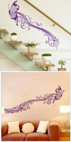 2014 Zooyoo removable colorful cute big butterfly and Musical Notes 3D wall sticker home decor wall stickers for kids/lbed room $9.99