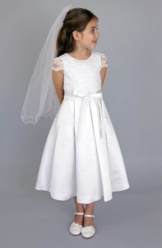 Main Image - Us Angels Lace Bodice Box Pleat Dress (Little Girls, Big Girls & Girls Plus)