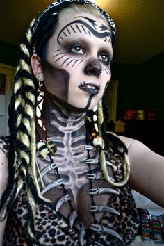 Here's a rough run through of my Halloween makeup from this year. It's a lot better but I've got this for now Witch Doctor Witch Doctor Costume, Voodoo Costume, Voodoo Halloween, Halloween Make Up, Halloween Costumes, Halloween Face Makeup, Halloween Party, Halloween 2016, Diy Costumes