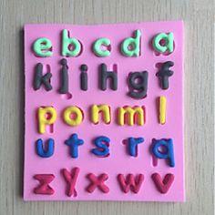 letras minúsculas fondant forma molde bolo de chocolate silicone, ferramentas de decoração bakeware