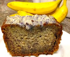 Banana Bread with Blueberry White Chocolate Glaze by Running On Waffles