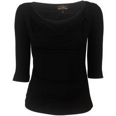 Vivienne Westwood Black Dahlia Top ($110) ❤ liked on Polyvore featuring tops, shirts, black, blusas, drape top, rayon shirts, 3/4 length sleeve tops, three quarter sleeve tops and drape shirt