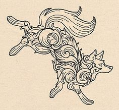 Flowing flourishes make up the shape of a leaping wolf. Nice and light-stitching!
