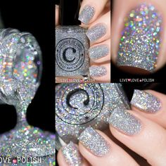 Holographic silver glitter nail polish! livelovepolish.com