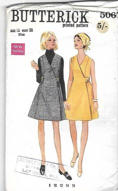 """Vintage 1960's Sewing Pattern Butterick 5067 Wrapped Dress Bust 38"""" Complete #Butterick"""