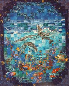 Seascape Quilt by Rob Appell: Watercolor Whales Quilt