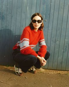 Alexa Chung, Red And Blue, Jumper, The Outsiders, Turtle Neck, Pullover, Hair Cuts, Knitting, Casual
