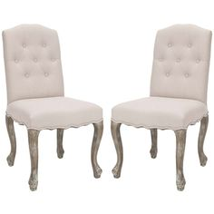 @Overstock.com - Safavieh Nirot Beige Linen Side Chairs (Set of 2) - With an elegant, button-tufted design, this Nirot side chair will add a new dimension to your dining room or living room. These chairs are made of 100-percent natural linen and curved antiqued light oak legs.  http://www.overstock.com/Home-Garden/Safavieh-Nirot-Beige-Linen-Side-Chairs-Set-of-2/6240322/product.html?CID=214117 $321.29