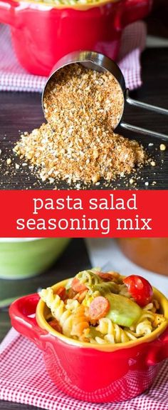 This Pasta Salad Seasoning Mix makes a big batch so you'll be ready for summer picnics. Use three tablespoons of this seasoning mix per one pound of pasta salad. Just the right seasoning, every time! Homemade Dry Mixes, Homemade Spice Blends, Homemade Spices, Homemade Seasonings, Spice Mixes, Salad Supreme Seasoning Recipe, Seasoning Mixes, Suddenly Salad Seasoning Recipe, Recipe Mix