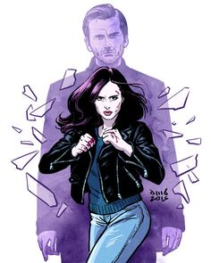 jessicajones:      davidmbuisan:      So addicted to Jessica Jones! Just 3 episodes left!      http://instagram.com/davidmbuisan  http://www.facebook.com/dmbuisan      Art by David M. Buisán      All Hell's Kitchen breaks loose.