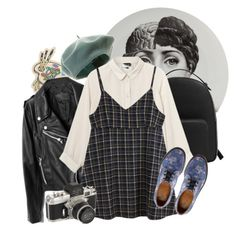 """""""Sin título #226"""" by starscounter394 ❤ liked on Polyvore featuring Fornasetti, Olympia Le-Tan, MANGO, Monki and Dr. Martens"""