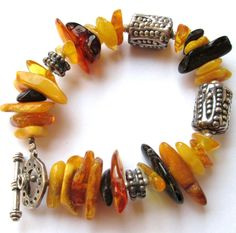 SILPADA Sterling Silver Multi Color Butterscotch Amber Bead Bracelet B0901 | eBay