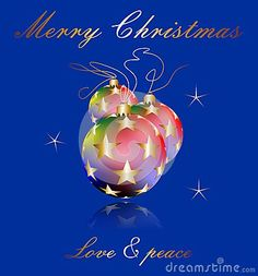 Elegant Christmas wishes with three globs on blue background with stars.