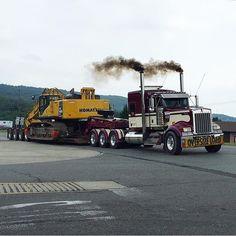 Kenworth custom W900L heavy haul with a Kotmasu excavator on wagon