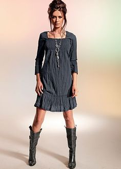 Grey smock dress with boots