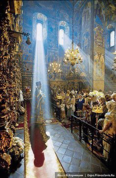 Orthodox Liturgy, the Original Christian Eastern Catholic Church of the a world from which Roman Catholic and all Protestant Religions were created from after Roman Catholics divorced from the Orthodox Church and changed their beliefs.