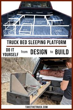 Detailed DIY truck camper plans and diagrams to build an awesome truck bed camping platform for sleeping with truck bed drawers for storage. Truck camping platform build made easy! Truck Shells, Camper Shells, Truck Bed Date, Truck Bed Camping, Truck Topper Camping, Camping Beds, Camping Storage, Tent Camping, Camping Outdoors