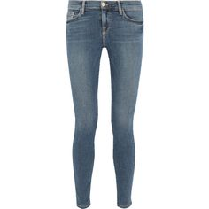 Frame Le Skinny de Jeanne mid-rise jeans ($270) ❤ liked on Polyvore featuring jeans, pants, button-fly jeans, blue wash jeans, medium rise jeans, skinny fit jeans and stretch denim skinny jeans