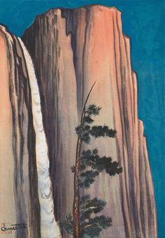 Chiura Obata (1885-1975), <i>Evening Glow of Yosemite Fall</i>, 1930. Woodblock print: sheet, 17 7/8 × 13 1/8 in. (45.4 × 33.3 cm); image, 15 7/16 × 10 7/8 in. (39.2 × 27.6 cm). Whitney Museum of American Art, New York; gift of Gyo Obata 2014.280 © Gyo Obata