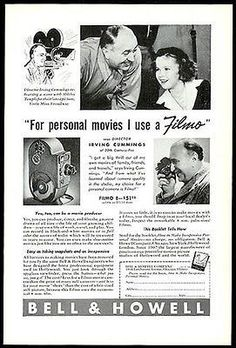 """paperink id:109 Shirley Temple 1938 Bell & Howell Photo Ad Irving Cummings Movie Director ORIGINAL Period Magazine Advertisement. Ad measures approximately 6.5"""" x 10"""". You are purchasing a paper adver"""