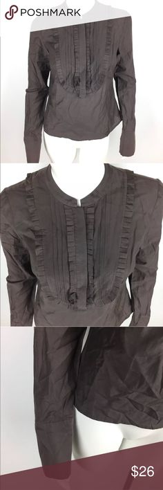 """Ted Baker London Women's Brown Top Size 1 (US 4) Ted Baker Womens Blouse Top Size 1 Brown French Cuff Mini Pleated Ruffle Detail   Good pre-owned condition Armpit to armpit:  17.5"""" Shoulder to hem (front):  21"""" Custom Sku: WC23 Ted Baker London Tops Blouses"""