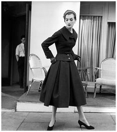 Rose Marie Reid in suit by Jacques Fath, photo by Regina Relang, Paris, 1955