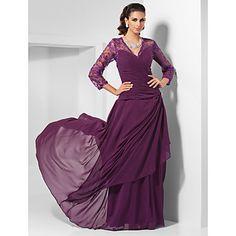 Sheath/Column V-neck Floor-length Chiffon Evening Dress  – USD $ 127.99