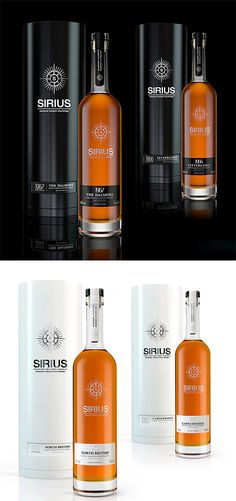Sirius Whisky's bottles and packaging designed by Three Brand