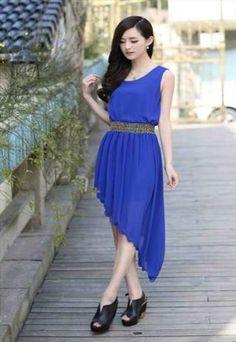 Asymmetrical Hem Blue Chiffon Maxi Dress