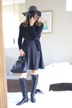 chic outfits shades of gray winter outfit ideas over the knee boots