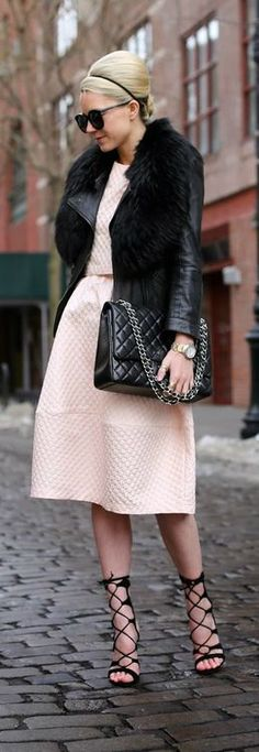 Baby Pink Dress with Black Puff and Lace Shoes | Street chic