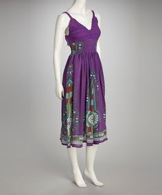 Take a look at this Purple Aztec Crochet Shirred Dress by Seasonal Stunners: Dresses & Blouses on @zulily today!