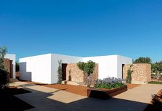 Guest pavilion at Ca Na Xica hotel, Ibiza by architect Marc Tur Torres. Modern House Floor Plans, Best House Plans, Modern House Design, Minimalist Architecture, Modern Architecture, Garage Guest House, Atrium House, Property Design, Minimal Home