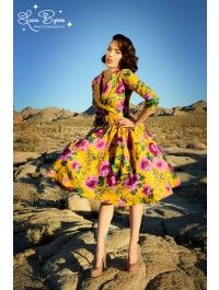 Birdie Dress in Mustard and Purple Floral with Three-Quarter Sleeves