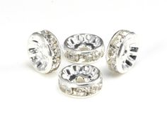 clear crystal rhinestone beads - rhinestone jewelry components - rhinestone jewelry findings - size 4-12mm - 100pcs