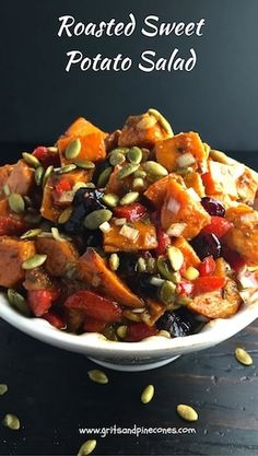 Roasted Sweet Potato Salad is a unique, colorful, healthy and best of all delicious alternative to mayonnaise-based potato salad for your summer picnics! via @gritspinecones