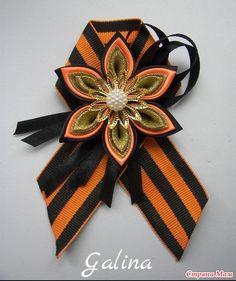 9МАЯ Вторая часть Hair Barrettes, Hair Clips, 9 Mai, Silk Ribbon, Fabric Flowers, Bows, Cool Stuff, Accessories, Orange