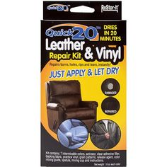 Re-Stor It Quick 20 Leather And Vinyl Repair Kit-. RESTOR-IT-Leather holes; and tears on leather and vinyl. Use to repair: briefcases; Leather Couch Repair, Leather Furniture Repair, Faux Leather Couch, Bonded Leather Repair, Kit, Color Mixing Guide, Leather Restoration, Car Restoration, See On Tv