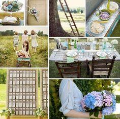 Hochzeit feiern Hortensien schöne Farbe Tischdeko Ideen