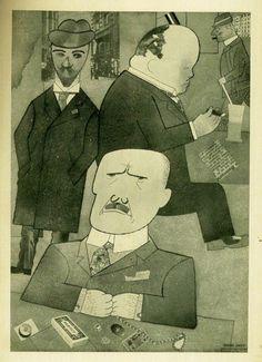 George Grosz, Mit Pinsel und Schere. 7 Materialisationen. Folge von 7 Tafeln. Berlin, Malik 1922.