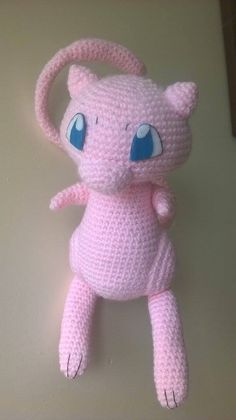 Cute Mew amigurumi, wait for the pattern very soon. Amigurumi Giraffe, Amigurumi Animals, Amigurumi Patterns, Amigurumi Doll, Crochet Animals, Crochet Patterns, Mew Pokemon, Pokemon Craft, Crochet Cross