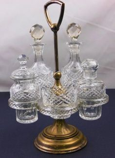 French Cut Glass Condiment Set :
