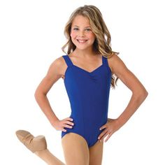 A great royal blue tank leotard for active girls from Capezio! This classic tank leotard has princess seams and a pinch front with thick tank straps. It has a moderately cut legline and the front is fully lined for extra coverage. The washing instruc