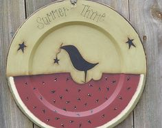 Primitive Handpainted Wooden Plate with Watermelon and Black Crow Hand Painted Plates, Wooden Plates, Decorative Plates, Primitive Crafts, Wood Crafts, Summer Decorating, Decorating Ideas, Country Crafts, Vintage Marketplace
