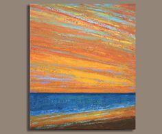 Huge Abstract Sunset Ocean Painting (30x36) Sunset Ocean - Original Acrylic Wall Decor - Thick Paint Texture - Sage Mountain Studio. $395.00, via Etsy.