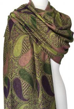 0f836c775 Green Pashmina Wrap Aubergine Purple Floral Ladies Lime Shawl Oversized  Scarf