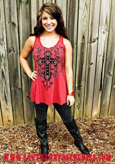 Rocker Chic Tunic- Red $42.99! #SouthernFriedChics